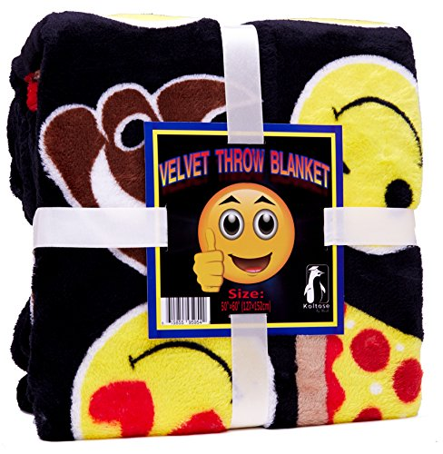 Koltose by Mash Velvet Emoji Fleece Plush Throw Blanket, Super Soft Large Oversized Cozy Lightweight Emoticon Blanket for Toddlers Kids Teens and Young Adults (50in x 60in)