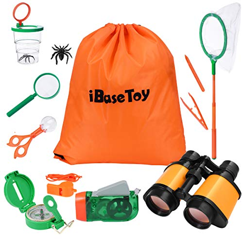 iBaseToy Outdoor Explorer Kit, Kids Adventure Kit with Binoculars, Compass, Magnifying Glass, Butterfly Net and Backpack, Great Gift for 3-12 Year Old Boys and Girls to Enjoy Nature