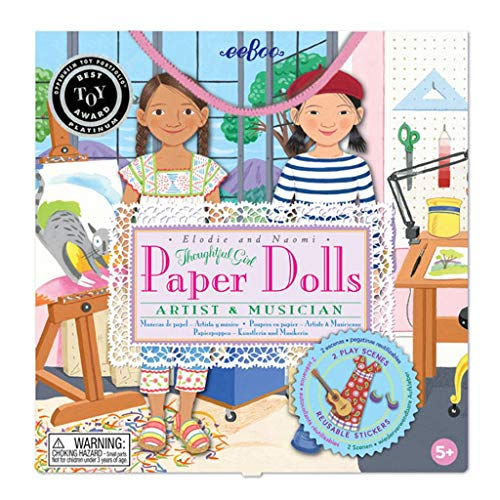eeBoo Musician and Artist Paper Doll Set for Girls