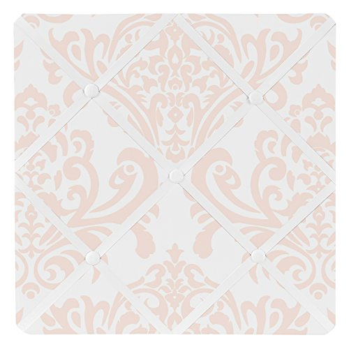 Blush Pink Damask Fabric Memory/Memo Photo Bulletin Board for Amelia Collection