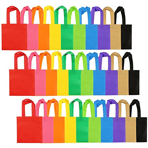 Aneco 30 Pack Party Bags Non-Woven Bag Tote Bags with Handles for Party Favor, 8 by 8 Inches, 10 Colors