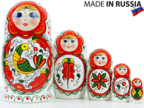 Russian Nesting Doll - Northern Traditional Patterns - Hand Painted in Russia - 16 Color/Size Variations - Wooden Decoration Gift Doll - Matryoshka Babushka ((5 Dolls in 1) White with Bird)