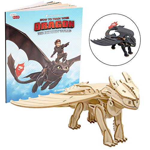 DreamWorks How to Train Your Dragon: Hidden World Toothless Book and 3D Wood Model Figure Kit - Build, Paint and Collect Your Own Wooden Toy Model - for Kids and Adults, 8+ - 7