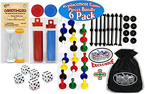 Koplow Games Universal Game Pieces Replacement Set with Exclusive Matty's Toy Stop Cinch Storage Bag - 6 Pack