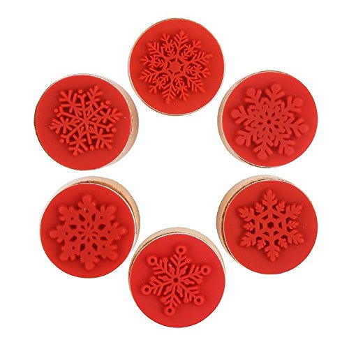 DECORA 6 Pieces Snowflake Floral Wooden Rubber Stamps for Card Making Scrapbooking and Crafts