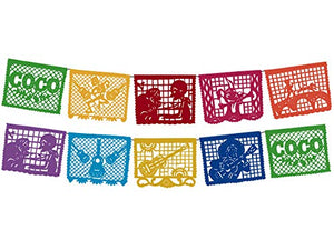 Decoramec Coco Movie Large Plastic Papel Picado Banner 10 Multicolored Panels 2 Pack