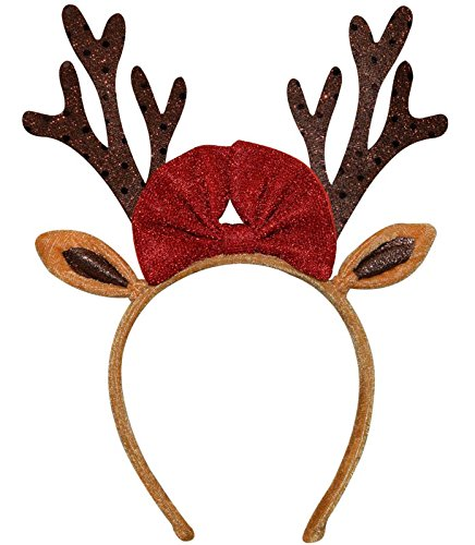 Christmas Reindeer Antlers Headband for Adult Kids Girls Boys – One Size fits Most Red/Brown