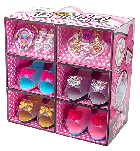 Shoes and Jewelry Boutique - Little Girl Princess Play Gift Set with 4 Pairs of Shoes, Collection of Earrings, Bracelets Rings - Great for Dress Up &