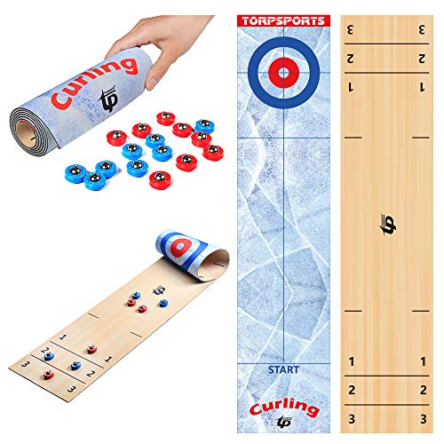 TORPSPORTS 2 in 1 Table Top Shuffleboard Pucks and Curling Games with 16 Rollers