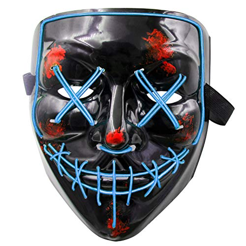 heytech LED Mask Halloween Cosplay Scary Mask LED Costume Mask Light up for Halloween Festival Party Blue