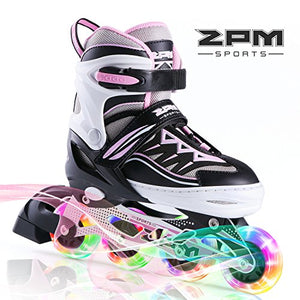 2PM SPORTS Cytia Pink Girls Adjustable Illuminating Inline Skates with Light up Wheels, Fun Flashing Beginner Roller Skates for Kids (Pink, Small - Little Kids (10C-13C US))