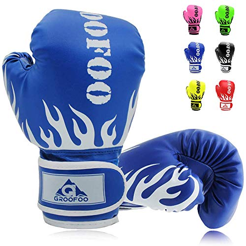GROOFOO Kids Boxing Gloves for Child Punching Bag Sparring, 4oz 6oz fit 3 to 14 Years