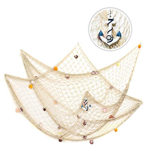 king do way 79inch x 59inch Mediterranean Style Fishing Nets with Sea Shells and Anchor Decorative Background Wall Bar for Home Decoration (White)