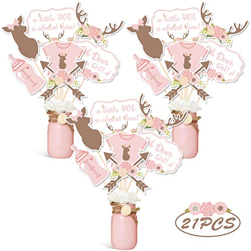 Oh Deer Party Centerpiece Sticks DIY Baby Girl Oh Deer It's A Girl Table Decorations Pink Little Doe Cutouts For Deer Theme Baby Shower Gender Reveal Party Supplies Set of 21
