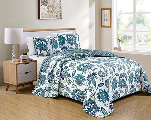 Kids Zone Home Linen 2 Piece Twin/Twin Extra Long Over Size Bedspread Set Flower Print White Blue Green