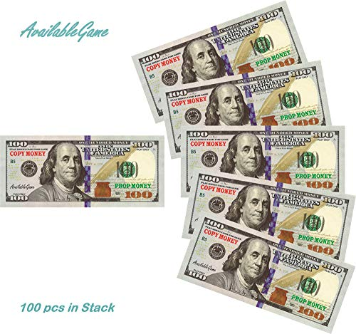 AvailableGame 100 Dollars Play Copy Money for Games, Monopoly Prop Paper Double-Sided Printing 100 pcs $10,000 Educational One Hundred Dollar Bills Stack for Poker