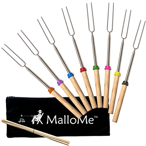 MalloMe Marshmallow Roasting Smores Sticks - Camping Accessories for Campfire Fire Pit Cooking - Set (Set of 8)