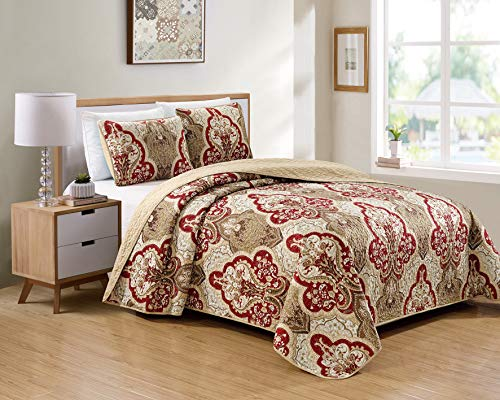 Kids Zone Home Linen 3 Piece Full/Queen Over Size Bedspread Set Damask Pattern Taupe Burgundy Brown