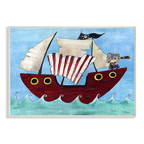Stupell Home D�cor Pirate Ship at Sea Canvas Wall Art, 16 x 20, Multi-Color