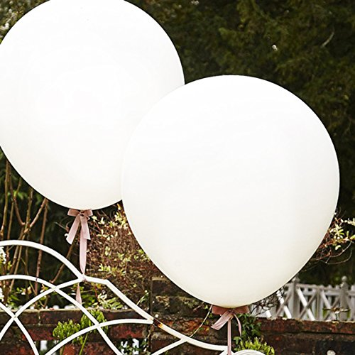 Giant Balloons 36-Inch white balloons - 6 Big latex balloons for Birthdays Wedding and Event Decorations