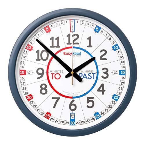 EasyRead Time Teacher Learn The Time School Classroom Past/to Wall Clock #ERCC-EN