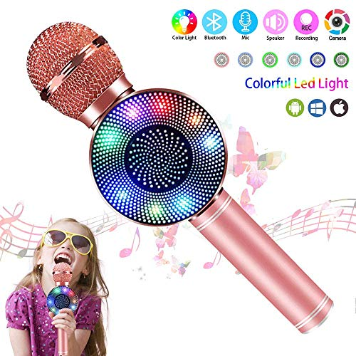 Annstory Wireless Bluetooth Karaoke Microphone,Kid Girl Top Christmas Birthday Gift Toy,2019 Best Gift Presents for Girl Kid Boy Children Age 5 6 7 8 9 10 11 12 Years Old (Rose Gold)