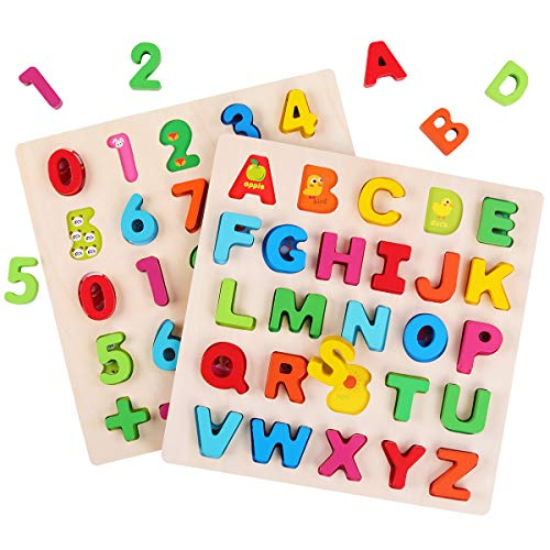 GEMEM Wooden Alphabet Puzzle Upper Case Letters and Numbers Puzzles Educational Learning Blocks Board Toys for 3+ Years Old Preschool Boys & Girls Toddlers Pack of 2
