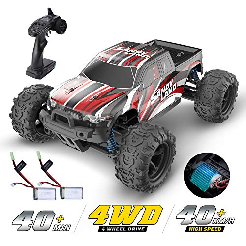 DEERC RC Car High Speed Remote Control Car for Kids Adults 1:18 Scale 30+ MPH 4WD Off Road Monster Trucks,2.4GHz All Terrain Toy Trucks with 2 Rechargeable Battery,40+ Min Play Gifts for Boys