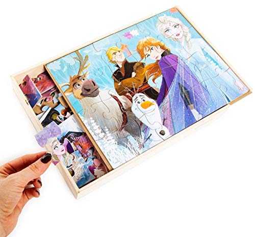 Disney Frozen 2 5 Wood Jigsaw Puzzles in Wood Storage Box
