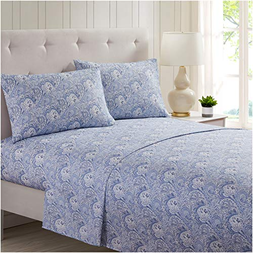 Mellanni Bed Sheet Set Brushed Microfiber 1800 Bedding - Wrinkle, Fade, Stain Resistant - 4 Piece (King, Paisley Blue)