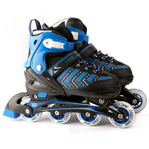Adjustable Inline Skate for Kids Women Men Adult Boys Girls-Inline Rollers Black-Pink or Black-Blue. Fitness Performance Inline Blades Skates. Patines/Rollers para Hombre o Mujer