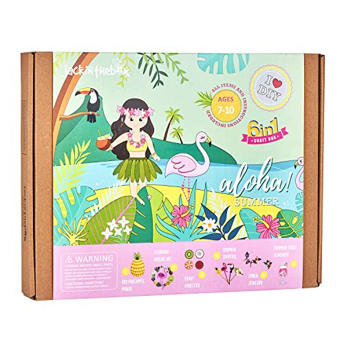 jackinthebox Hawaiian Tropical Themed Craft Kit | 6 Craft Projects in 1 | Includes Beautiful Pineapple Sewing Kit | | Best Gift for Girls Ages 5 6 7 8 9 10 Years