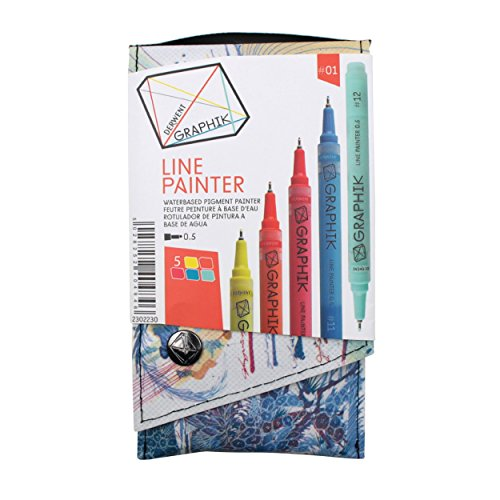 Derwent Graphite Pens, Graphik Line Painter Colored Pens, Palette No.1, 5 Pack (2302230)