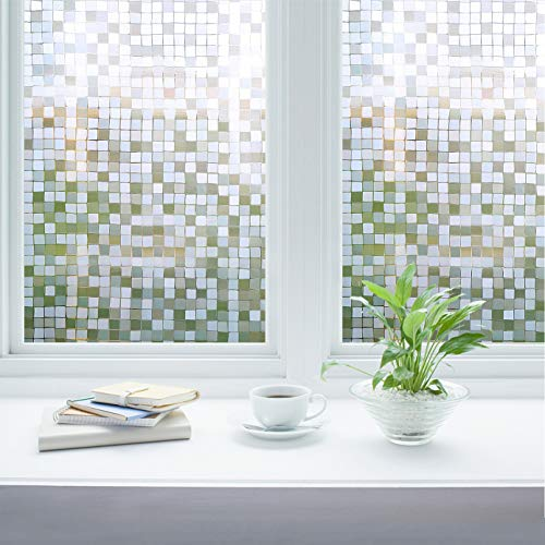 Privacy Window Films, Translucent Glass Tint Static Cling Treatment for Home Security and Decorative, Heat Control, UV Prevention - No Glue, No Residue, Easy Removal (Art Mosaics, 17.7x78.7 Inches)
