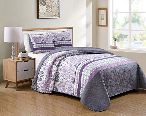 Kids Zone Home Linen 2 Piece Twin/Twin Extra Long Over Size Bedspread Set Damask Printed Pattern Lavender Purple White Grey