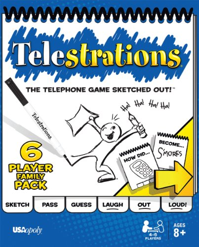 USAOPOLY Telestrations Original 6 Player | Family Board Game | A Fun Family Game for Kids and Adults | Family Game Night Just Got Better | The Telephone Game Sketched Out