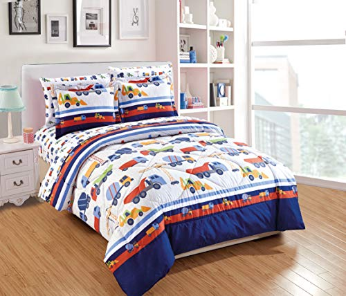 Fancy Linen Boys Comforter Set Construction Trucks Tractors Blue Red Yellow White New # Construction Blue (Twin Comforter)