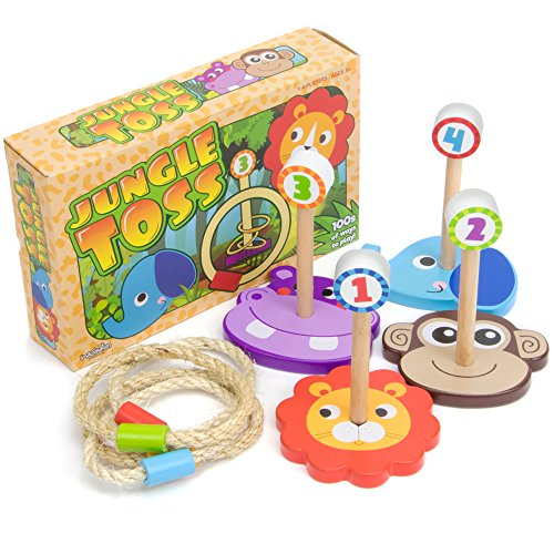 Imagination Generation Jungle Ring Toss Game, Indoor/Outdoor Family Fun with 4 Wooden Zoo Animal Targets