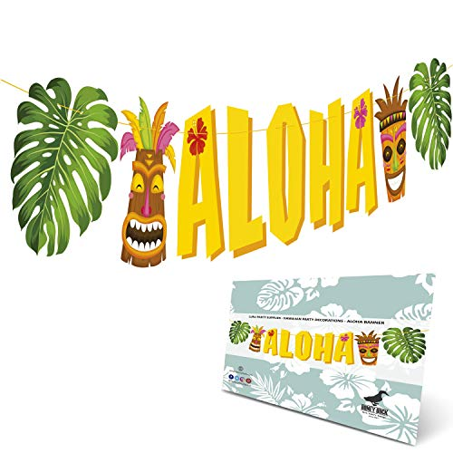 Aloha Banner Luau Party Supplies - Hawaiian Party Decorations - Luau Party Decorations - Already Assembled Large Size Aloha Sign Hawaiian Decor For Tropical Pool Jungle Party