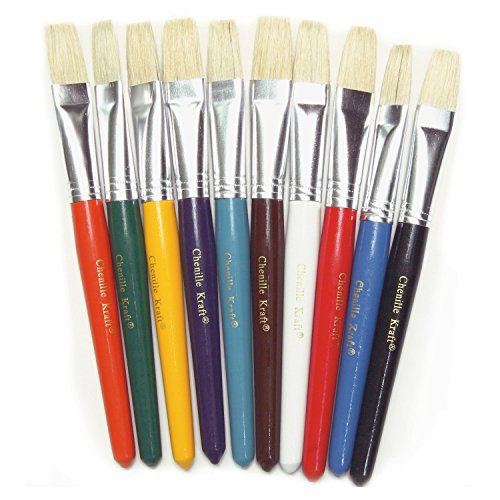 ChenilleKraft Color Coded Flat Stubby Brushes, Assorted Colors, Class Pack, 10/Set (5184)