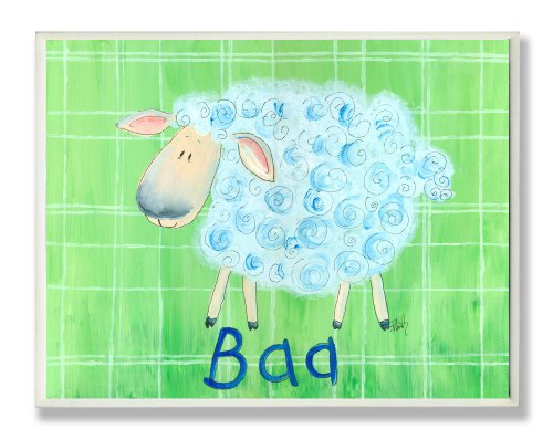 The Kids Room by Stupell Baa Sheep on Green Plaid Background Rectangle Wall Plaque