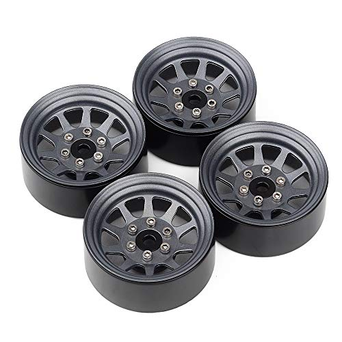 INJORA 1.9 Beadlock Wheel Rims for 1:10 RC Crawler Axial SCX10 90046 SCX10 III AXI03007 Traxxas TRX4 Redcat GEN8,Metal Alloy,107g/pcs (Grey)