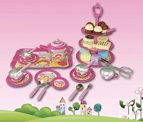 Oojami 48 Piece High Tea Set for Girls | Pretend Play Afternoon Tin Tea Set | Includes a 3 Tier Cake Stand | Includes Pretend Desserts | Makes a Great Gift for Ages 3+