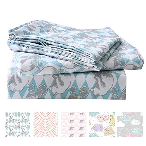 LanJia Bedding Sets Scribble Stars Soft Brushed Microfiber Printed Twin Bed Sheet Sets for Kids Boys Girls - 1 Flat Sheet, 1 Fitted Sheet, 1 Pillowcase(Bear, Full)