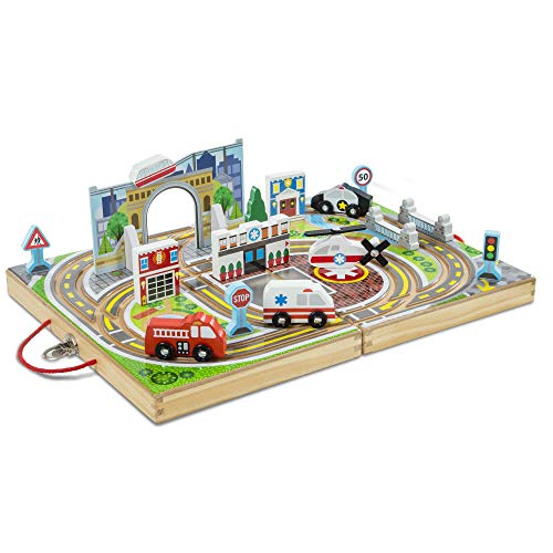 Melissa & Doug 30141 Take-Along Town (Wooden Portable Play Surface, 18 Pieces, Great Gift for Girls and Boys - Best for 3, 4, and 5 Year Olds), Multi