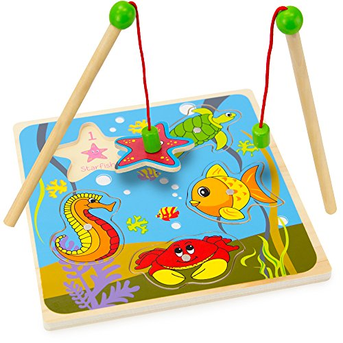 Imagination Generation Wooden Wonders Lift & Look Magnetic Fishing Game with 2 Poles (5 pcs)