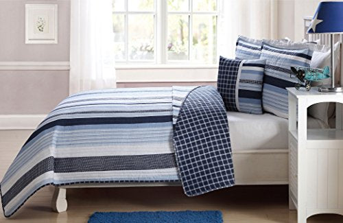Elegant Home Multicolor Navy Light Blue White Elegant Striped Stripes Design Printed Reversible Colorful 4 Piece Quilt Bedspread Bedding Set with Decorative Pillow for Kids/Boys (Full)