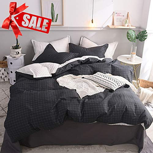 Wellboo Black Plaid Bedding Sets Men Black and White Duvet Cover Grid Queen Full Cotton Adult Quilt Cover Mini Checkered Square White Bedding Sets Reversible Duvet Soft Health with 2 Pillowcases