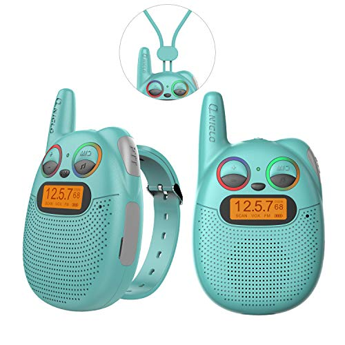 FRS Walkie Talkies with FM, Wearable & Rechargeable Walkie Talkies for Kids, up to 2 Miles Kids Walkie Talkies for Bicycle, Hiking, Camping, Running (Green)
