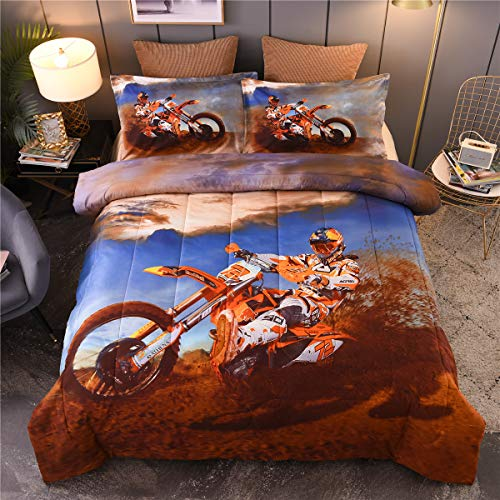 NTBED Extreme Sport Comforter Set Full, Motorcycle Off-Road Printed Reversible Quilt Motocross Teens Boys Bedding Sets (Blue, Full)